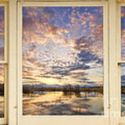 Golden Ponds Scenic Sunset Reflections 4 Yellow Window View Art Print