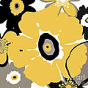 Golden Pop Flower Art Print