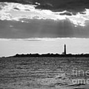 Golden Rays At Cape May Bw Art Print