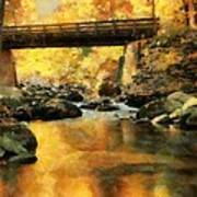 Golden Reflection Autumn Bridge Art Print