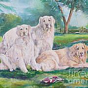Golden Retriever Trio Art Print