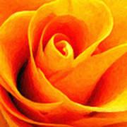 Golden Rose - Digital Painting Effect Art Print