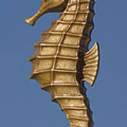 Golden Seahorse Art Print