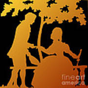 Golden Silhouette Garden Proposal Will You Marry Me Art Print