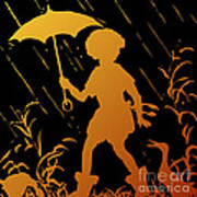 Golden Silhouette Of Child And Geese Walking In The Rain Art Print