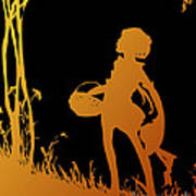 Golden Silhouette Of Child With Basket Walking In The Woods Art Print