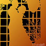 Golden Silhouette Of Couple Embracing Art Print