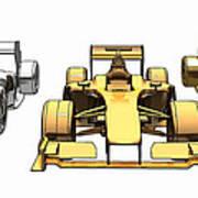 Golden Silver Bronze Race Car Color Sketch Art Print