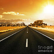 Golden Sky And Road Print by Boon Mee