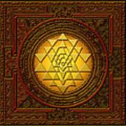 Golden  Sri Lakshmi Yantra Art Print
