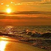 Golden Sunrise Colors With Waves And Horizon Clouds On Navarre Beach Art Print