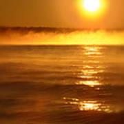 Golden Sunrise Over The Water Art Print