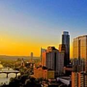 Golden Sunset In Austin Texas Art Print