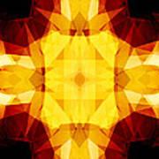 Golden Textured Triangles Art Print