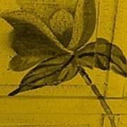Golden Wood Flower Art Print