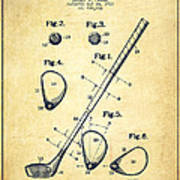 Golf Club Patent Drawing From 1910 - Vintage Art Print