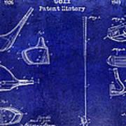 Golf Patent History Drawing Blue Art Print