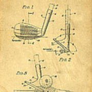 Golf Sand Wedge Patent On Aged Paper Art Print