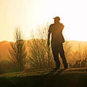 Golfer At Sunset Art Print