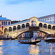 Gondola In Front Of Rialto Bridge At Dusk Venice Italy Art Print
