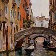 Gondola On A Venetian Canal Art Print