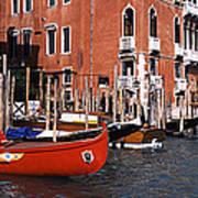 Gondolas In A Canal, Grand Canal Art Print