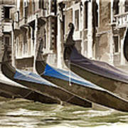 Gondolas-in-waiting   Venice Art Print