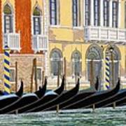 Gondolas On The Grand Canal  Art Print