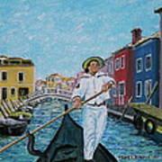 Gondolier At Venice Italy Art Print