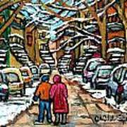 Good Day In January For Winter Stroll Snowy Trees And Cars Verdun Street Scene Painting Montreal Art Art Print