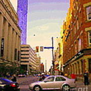 Good Morning Drive By Yonge St Starbucks Toronto City Scape Paintings Canadian Urban Art C Spandau  Art Print