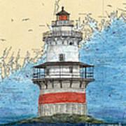 Goose Rocks Lighthouse Me Nautical Chart Peek Art Art Print