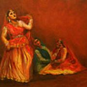 Gopis Distressed As Krishna Is Not Seen Art Print