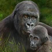 Gorilla And Baby Art Print