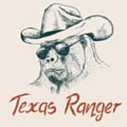 Gorilla Like A Texas Ranger Dressed In Art Print