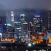 Gotham City - Los Angeles Skyline Downtown At Night Art Print by Jon Holiday