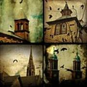 Gothic Churches And Crows Art Print