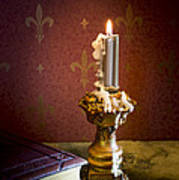 Gothic Scene With Candle And Gilt Edged Books Art Print