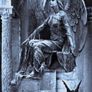 Gothic Surreal Cemetery Angel With Gargoyle And Bats Art Print