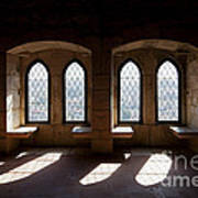 Gothic Windows Of The Royal Residence In The Leiria Castle Art Print