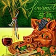 Gourmet Cover Featuring A Pig's Head On A Platter Art Print