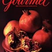 Gourmet Cover Featuring A Plate Of Pomegranates Art Print