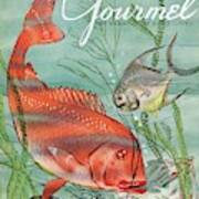Gourmet Cover Featuring A Snapper And Pompano Art Print