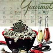 Gourmet Cover Illustration Of A Bowl Of Salad Art Print