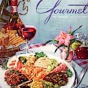 Gourmet Cover Illustration Of A Plate Of Antipasto Art Print