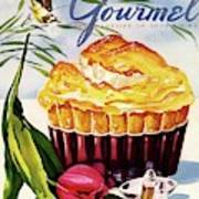 Gourmet Cover Illustration Of A Souffle And Tulip Art Print