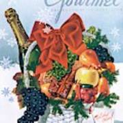 Gourmet Cover Illustration Of Holiday Fruit Basket Art Print