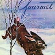 Gourmet Cover Of A Rabbit On Snow Art Print