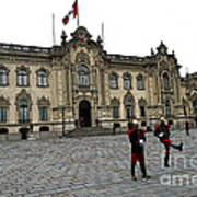 Government Palace Guards In Lima Art Print