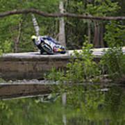Superbike On Creek Bridge Art Print